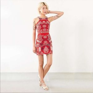 J.O.A embroidered red halter tank dress medium